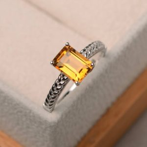 Shop Citrine Rings! Natural citrine ring, emerald cut yellow gemstone, solitaire ring, November birthstone, sterling silver ring | Natural genuine Citrine rings, simple unique handcrafted gemstone rings. #rings #jewelry #shopping #gift #handmade #fashion #style #affiliate #ad