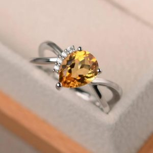 Shop Citrine Engagement Rings! Natural citrine ring, anniversary ring, pear cut ring, yellow gemstone, solid sterling silver ring | Natural genuine Citrine rings, simple unique handcrafted gemstone rings. #rings #jewelry #shopping #gift #handmade #fashion #style #affiliate #ad