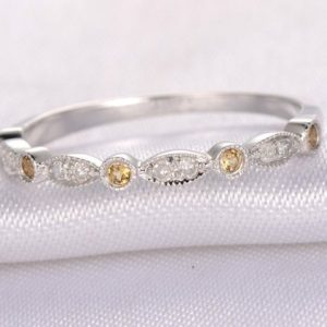 Shop Citrine Rings! Natural Diamond & Citrine Wedding Ring Stackable Ring Art Deco Band Citrine Matching Band 14k White Gold Half Eternity Personalized For Her | Natural genuine Citrine rings, simple unique alternative gemstone engagement rings. #rings #jewelry #bridal #wedding #jewelryaccessories #engagementrings #weddingideas #affiliate #ad