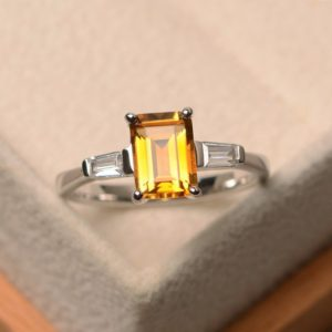 Shop Citrine Rings! Natural citrine ring, emerald cut yellow gemstone, sterling silver ring,three stones ring, promise ring for women | Natural genuine Citrine rings, simple unique handcrafted gemstone rings. #rings #jewelry #shopping #gift #handmade #fashion #style #affiliate #ad