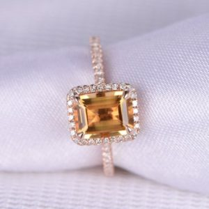 Shop Citrine Rings! Natural Citrine Engagement Ring 14k Rose Gold 6x8mm Emerald Cut Stone Diamond Bridal Ring Wedding Ring Personalized For Her/him Custom Ring | Natural genuine Citrine rings, simple unique alternative gemstone engagement rings. #rings #jewelry #bridal #wedding #jewelryaccessories #engagementrings #weddingideas #affiliate #ad