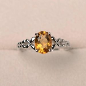 Shop Citrine Rings! Natural citrine ring, November birthstone ring, solitaire ring, oval cut yellow gemstone, sterling silver ring | Natural genuine Citrine rings, simple unique handcrafted gemstone rings. #rings #jewelry #shopping #gift #handmade #fashion #style #affiliate #ad