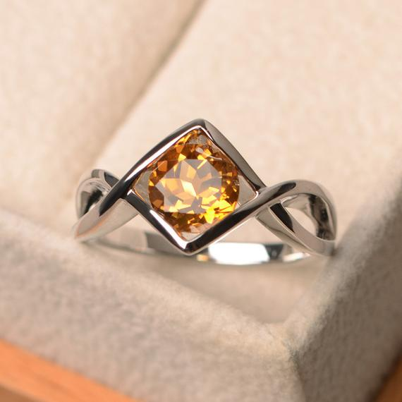 Natural Yellow Citrine Rings, Engagement Rings, Round Cut Rings, Sterling Silver Rings,anniversary Gifts, Solitaire Ring