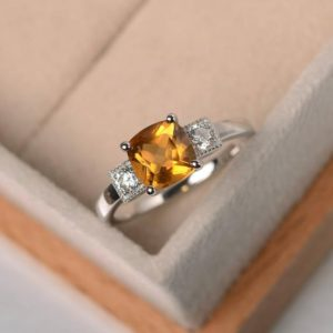 November birthstone ring, natural citrine ring ,wedding ring,cushion cut,silver ring, yellow gemstone ring | Natural genuine Gemstone rings, simple unique alternative gemstone engagement rings. #rings #jewelry #bridal #wedding #jewelryaccessories #engagementrings #weddingideas #affiliate #ad