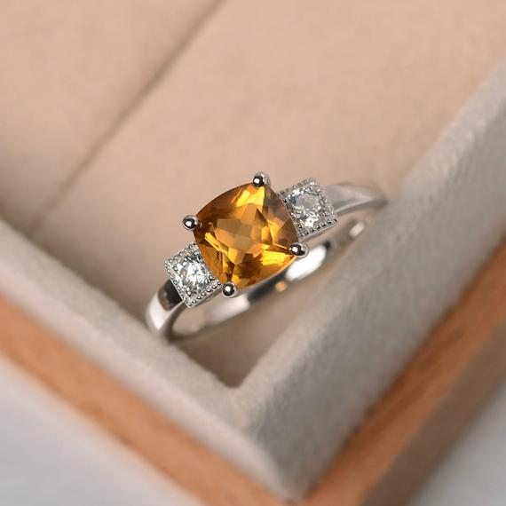 November Birthstone Ring, Natural Citrine Ring ,wedding Ring,cushion Cut,silver Ring, Yellow Gemstone Ring