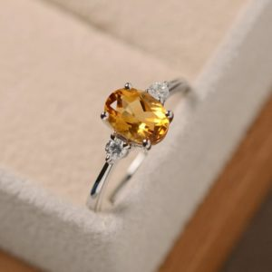 Citrine ring, oval quartz, sterling silver, natural gemstone ring, November birthstone ring | Natural genuine Citrine rings, simple unique handcrafted gemstone rings. #rings #jewelry #shopping #gift #handmade #fashion #style #affiliate #ad