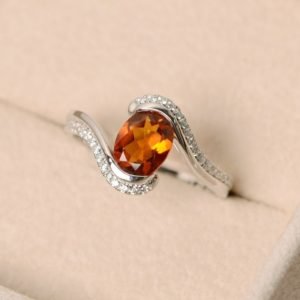 Shop Citrine Engagement Rings! Citrine ring, oval citrine, yellow ring, natural citrine ring, oval cut citrine, November birthstone ring | Natural genuine Citrine rings, simple unique handcrafted gemstone rings. #rings #jewelry #shopping #gift #handmade #fashion #style #affiliate #ad