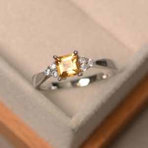 Shop Citrine Rings! Citrine ring, square cut, crystal ring, sterling silver, engagement ring | Natural genuine Citrine rings, simple unique alternative gemstone engagement rings. #rings #jewelry #bridal #wedding #jewelryaccessories #engagementrings #weddingideas #affiliate #ad