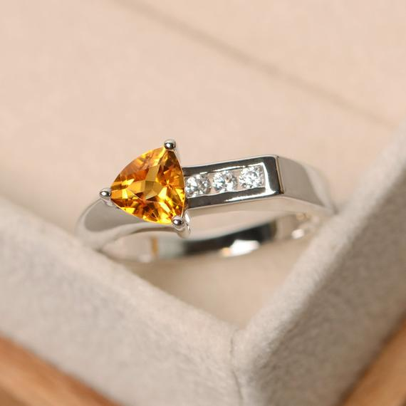 Citrine Ring, Trillion Cut Engagement Ring, Arrow Ring, Sterling Silver, Yellow Gemstone, Quartz Ring
