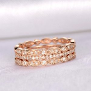 Shop Diamond Rings! 3pcs Full Eternity Diamond Wedding Ring Set Anniversary Ring Solid 14k Rose Gold Infinity Ring Art Deco Antique Matching Band Thin band | Natural genuine Diamond rings, simple unique alternative gemstone engagement rings. #rings #jewelry #bridal #wedding #jewelryaccessories #engagementrings #weddingideas #affiliate #ad