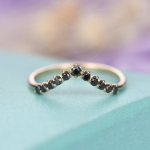 Shop Diamond Rings! Black Diamond ring Curved wedding band women Unique Chevron Vintage Matching Stacking Promise Bridal set Jewelry Anniversary gift for her | Natural genuine Diamond rings, simple unique alternative gemstone engagement rings. #rings #jewelry #bridal #wedding #jewelryaccessories #engagementrings #weddingideas #affiliate #ad