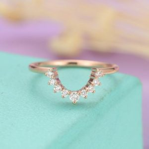 Shop Diamond Rings! Curved Wedding Band Women Diamond Half Eternity antique vintage Bridal Set Unique Delicate Yellow gold Stacking Promise Birthday Gift Custom | Natural genuine Diamond rings, simple unique alternative gemstone engagement rings. #rings #jewelry #bridal #wedding #jewelryaccessories #engagementrings #weddingideas #affiliate #ad