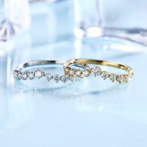 Shop Diamond Rings! Curved Diamond Wedding Band 14K Rose Gold Women Antique Unique Eternity Dainty Stacking Ring Bridal Simple Anniversary Gifts For Her | Natural genuine Diamond rings, simple unique alternative gemstone engagement rings. #rings #jewelry #bridal #wedding #jewelryaccessories #engagementrings #weddingideas #affiliate #ad