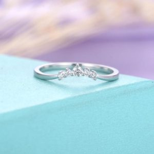 Shop Diamond Rings! Curved wedding band Diamond wedding band Women Chevron Unique Bridal Jewelry Matching Stacking Dainty Five stone Anniversary gift for her | Natural genuine Diamond rings, simple unique alternative gemstone engagement rings. #rings #jewelry #bridal #wedding #jewelryaccessories #engagementrings #weddingideas #affiliate #ad
