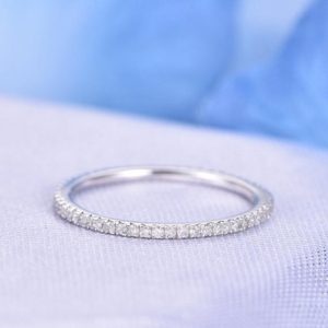 Full Eternity Diamond THIN Wedding Ring Anniversary Ring 14k White Gold Infinity Ring Matching Band Presonalized for her/him Custom ring | Natural genuine Gemstone rings, simple unique alternative gemstone engagement rings. #rings #jewelry #bridal #wedding #jewelryaccessories #engagementrings #weddingideas #affiliate #ad