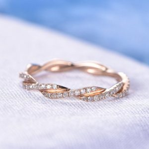 Shop Diamond Jewelry! Full Eternity Diamond Wedding Band Twist Wedding Ring Criss Cross Ring Anniversary ring Solid 14k Rose Gold Infinity Ring Matching Band | Natural genuine Diamond jewelry. Buy handcrafted artisan wedding jewelry.  Unique handmade bridal jewelry gift ideas. #jewelry #beadedjewelry #gift #crystaljewelry #shopping #handmadejewelry #wedding #bridal #jewelry #affiliate #ad
