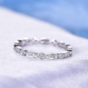 Full Eternity Diamond Wedding Band Anniversary Ring 14k White Gold Infinity Ring Art Deco Antique Matching Band Black Diamond Available | Natural genuine Gemstone rings, simple unique alternative gemstone engagement rings. #rings #jewelry #bridal #wedding #jewelryaccessories #engagementrings #weddingideas #affiliate #ad