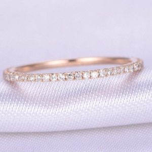 Shop Diamond Jewelry! Full Eternity Diamond Wedding Ring 1.2mm Width Petite THIN Band Anniversary Ring 14k Rose Gold Matching Band Infinity Ring Gift for her | Natural genuine Diamond jewelry. Buy handcrafted artisan wedding jewelry.  Unique handmade bridal jewelry gift ideas. #jewelry #beadedjewelry #gift #crystaljewelry #shopping #handmadejewelry #wedding #bridal #jewelry #affiliate #ad