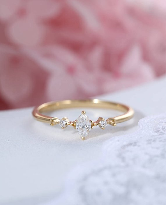 Marquise Cut Diamond Engagement Ring Three Stone Cluster Engagement Ring Bridal Dainty Wedding Ring Simple Promise Anniversary Ring