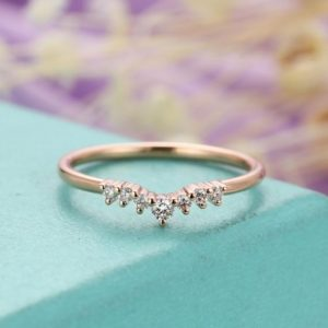 Shop Diamond Rings! Rose gold wedding band Diamond wedding band Women Curved Unique Matching Stacking Chevron Bridal Jewelry Promise Anniversary | Natural genuine Diamond rings, simple unique alternative gemstone engagement rings. #rings #jewelry #bridal #wedding #jewelryaccessories #engagementrings #weddingideas #affiliate #ad
