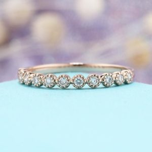 Shop Diamond Rings! Rose gold Wedding band women diamond vintage Half eternity band Dainty Simple Delicate Stacking Bridal Promise gift Milgrain Matching band | Natural genuine Diamond rings, simple unique alternative gemstone engagement rings. #rings #jewelry #bridal #wedding #jewelryaccessories #engagementrings #weddingideas #affiliate #ad