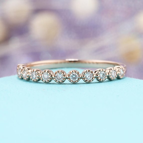 Rose Gold Wedding Band  Diamond Vintage Half Eternity Band Dainty Simple Delicate Stacking Bridal Promise  Milgrain Matching Band