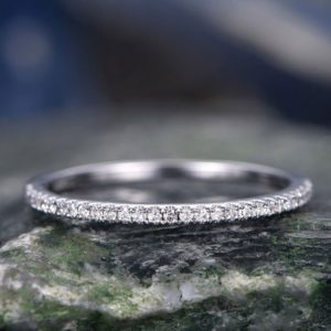 Diamond wedding ring-Solid 14k white gold -handmade diamond stacking ring-half eternity- 1mm thin Matching band-tiny round cut stones | Natural genuine Gemstone rings, simple unique alternative gemstone engagement rings. #rings #jewelry #bridal #wedding #jewelryaccessories #engagementrings #weddingideas #affiliate #ad