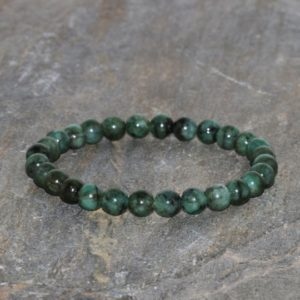 Shop Emerald Bracelets! Emerald Bracelet 6mm Natural Emerald with Black Inclusion Beaded Gemstone Bracelet Love and Contentment Bracelet Jewelry Gift Bracelet | Natural genuine Emerald bracelets. Buy crystal jewelry, handmade handcrafted artisan jewelry for women.  Unique handmade gift ideas. #jewelry #beadedbracelets #beadedjewelry #gift #shopping #handmadejewelry #fashion #style #product #bracelets #affiliate #ad