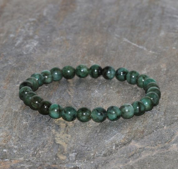 Emerald Bracelet 6mm Natural Emerald With Black Inclusion Beaded Gemstone Bracelet Love And Contentment Bracelet Jewelry Gift Bracelet