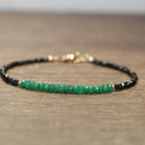 Shop Emerald Bracelets! Emerald and Black Spinel Bracelet, Emerald Jewelry, Beaded Bracelet, May Birthstone. Gemstone Bracelet, Silver or Gold Beads | Natural genuine Emerald bracelets. Buy crystal jewelry, handmade handcrafted artisan jewelry for women.  Unique handmade gift ideas. #jewelry #beadedbracelets #beadedjewelry #gift #shopping #handmadejewelry #fashion #style #product #bracelets #affiliate #ad