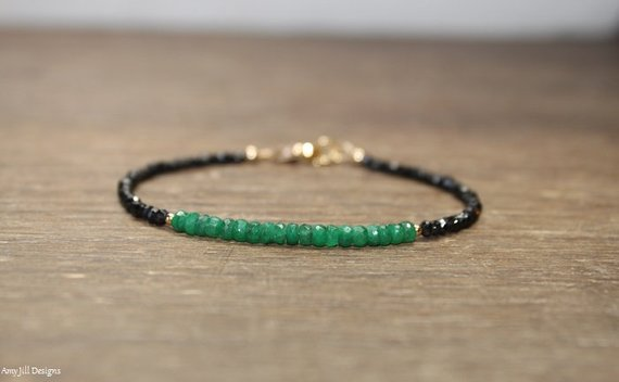 Emerald And Black Spinel Bracelet, Emerald Jewelry, Beaded Bracelet, May Birthstone. Gemstone Bracelet, Silver Or Gold Beads
