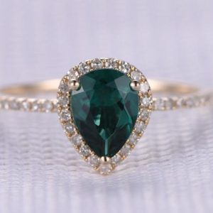 Shop Emerald Engagement Rings! 1.30ct Pear Shaped Emerald Engagement Ring 14k Yellow Gold Green Gem Stone Diamond Bridal Ring Wedding Ring Personalized For her/him Custom | Natural genuine Emerald rings, simple unique alternative gemstone engagement rings. #rings #jewelry #bridal #wedding #jewelryaccessories #engagementrings #weddingideas #affiliate #ad