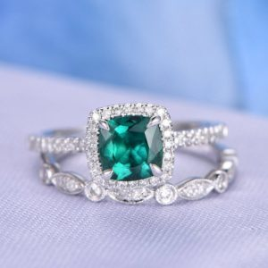 Shop Emerald Jewelry! 2pcs Wedding Ring Set Emerald Engagement Ring 14k White Gold Halo Diamond Matching Band 6mm Cushion Personalized for her/him Custom ring | Natural genuine Emerald jewelry. Buy handcrafted artisan wedding jewelry.  Unique handmade bridal jewelry gift ideas. #jewelry #beadedjewelry #gift #crystaljewelry #shopping #handmadejewelry #wedding #bridal #jewelry #affiliate #ad