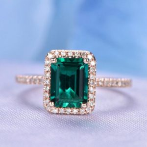 Shop Emerald Engagement Rings! Emerald Engagement Ring 14k Rose Gold 6x8mm Green Stone Diamond Bridal Ring Wedding Ring Ball Prong Personalized For Her/him Custom Ring | Natural genuine Emerald rings, simple unique alternative gemstone engagement rings. #rings #jewelry #bridal #wedding #jewelryaccessories #engagementrings #weddingideas #affiliate #ad