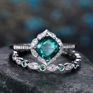 Shop Emerald Engagement Rings! Emerald engagement ring set 14k white gold full eternity diamond matching band art deco halo gift wedding promise bridal ring set for her | Natural genuine Emerald rings, simple unique alternative gemstone engagement rings. #rings #jewelry #bridal #wedding #jewelryaccessories #engagementrings #weddingideas #affiliate #ad
