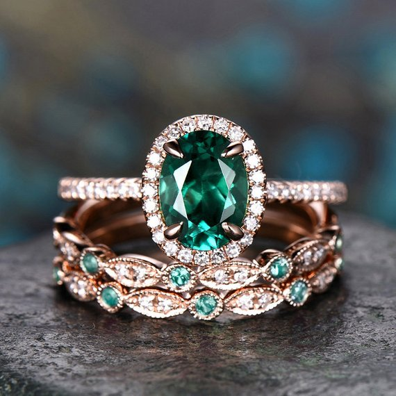 Emerald Engagement Ring Set 14k Rose Gold Natural Emerald Ring Vintage Diamond Ring 3pcs Unique Marquise Halo May Birthstone Promise Ring