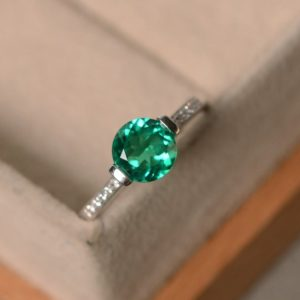 Shop Emerald Engagement Rings! Emerald engagement ring, brilliant cut, May birthstone, sterling silver, lab emerald ring, promise ring | Natural genuine Emerald rings, simple unique alternative gemstone engagement rings. #rings #jewelry #bridal #wedding #jewelryaccessories #engagementrings #weddingideas #affiliate #ad
