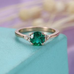 Shop Emerald Engagement Rings! Emerald Engagement ring Rose gold Women Wedding Cluster Diamond Unique Jewelry Bridal Simple Anniversary  Seven stones Prong set | Natural genuine Emerald rings, simple unique alternative gemstone engagement rings. #rings #jewelry #bridal #wedding #jewelryaccessories #engagementrings #weddingideas #affiliate #ad