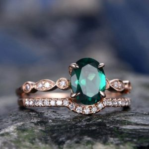 Shop Emerald Jewelry! Emerald engagement ring set solid 14k rose gold diamond ring 2pcs oval matching antique marquise wedding bridal promise ring set for her | Natural genuine Emerald jewelry. Buy handcrafted artisan wedding jewelry.  Unique handmade bridal jewelry gift ideas. #jewelry #beadedjewelry #gift #crystaljewelry #shopping #handmadejewelry #wedding #bridal #jewelry #affiliate #ad