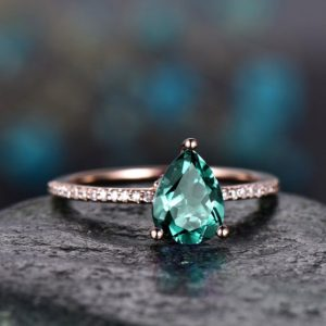 Shop Emerald Engagement Rings! Teardrop Emerald engagement ring solid 14k rose gold under halo real diamond ring emerald  ring vintage promise wedding May birthstone ring | Natural genuine Emerald rings, simple unique alternative gemstone engagement rings. #rings #jewelry #bridal #wedding #jewelryaccessories #engagementrings #weddingideas #affiliate #ad