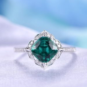 Floral Emerald Engagement Ring 14k White Gold Green Gem Stone Diamond Bridal Ring Wedding Ring Retro Vintage Personalized For her/him Custom | Natural genuine Gemstone rings, simple unique alternative gemstone engagement rings. #rings #jewelry #bridal #wedding #jewelryaccessories #engagementrings #weddingideas #affiliate #ad