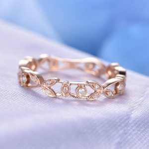 Full Eternity Diamond Wedding Band Milgrain Filigree Floral Anniversary Ring 14k Rose Gold Infinity Ring Matching Band Emerald available | Natural genuine Gemstone rings, simple unique alternative gemstone engagement rings. #rings #jewelry #bridal #wedding #jewelryaccessories #engagementrings #weddingideas #affiliate #ad