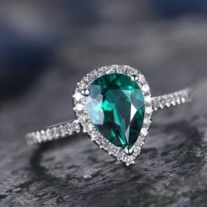Shop Emerald Engagement Rings! Green Emerald Engagement Ring White Gold Handmade Diamond Halo Ring Tear Drop 8x6mm Pear Cut Gemstone Promise Ring Gift For Her Lab Emerald | Natural genuine Emerald rings, simple unique alternative gemstone engagement rings. #rings #jewelry #bridal #wedding #jewelryaccessories #engagementrings #weddingideas #affiliate #ad