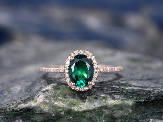 Green Emerald Engagement Ring-solid 14k Rose Gold-handmade Diamond Ring-halo Oval Cut Gemstone Promise Ring-lab Emerald,promise Ring