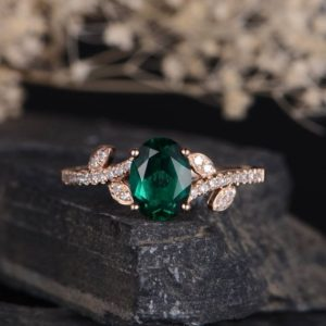 Lab Emerald Engagement Ring Rose Gold Leaf Vine Diamond Band Curved Promise Birthstone Half Eternity Unique Women Oval Cut Anniversary Ring | Natural genuine Gemstone rings, simple unique alternative gemstone engagement rings. #rings #jewelry #bridal #wedding #jewelryaccessories #engagementrings #weddingideas #affiliate #ad