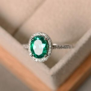 Lab emerald ring, sterling silver, May birthstone, promise ring, engagement ring | Natural genuine Emerald rings, simple unique alternative gemstone engagement rings. #rings #jewelry #bridal #wedding #jewelryaccessories #engagementrings #weddingideas #affiliate #ad