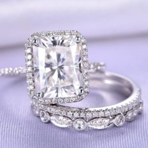 Moissanite Ring Set Emerald Moissanite Engagement Ring Half Eternity Diamond Wedding Band Art Deco Diamond Matching Band 14K White Gold | Natural genuine Gemstone rings, simple unique alternative gemstone engagement rings. #rings #jewelry #bridal #wedding #jewelryaccessories #engagementrings #weddingideas #affiliate #ad