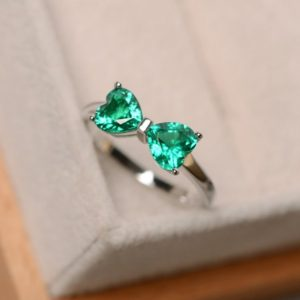 Shop Emerald Engagement Rings! Emerald ring sterling silver, engagement ring, May birthstone, promise ring for her, multistone ring,hear cut emerald | Natural genuine Emerald rings, simple unique alternative gemstone engagement rings. #rings #jewelry #bridal #wedding #jewelryaccessories #engagementrings #weddingideas #affiliate #ad