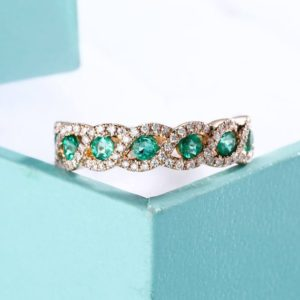 Vintage Emerald Wedding Band antique Half eternity band Art Deco Unique Diamond Bridal set Jewelry 14k gold Stacking Infinity Micro pave | Natural genuine Gemstone rings, simple unique alternative gemstone engagement rings. #rings #jewelry #bridal #wedding #jewelryaccessories #engagementrings #weddingideas #affiliate #ad