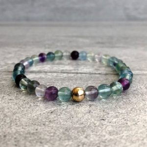 "Shop Fluorite Bracelets! Rainbow Fluorite Bracelet | Natural Fluorite Jewelry With Purple & Green Stones | 6"" 7"" 8"" 9"" Silver Or Gold Bead Stretch Bracelet 